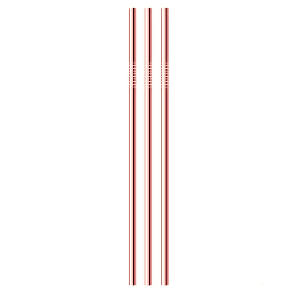 3 Canudos Cobreados Retos de Inox 21,5cm x 6mm