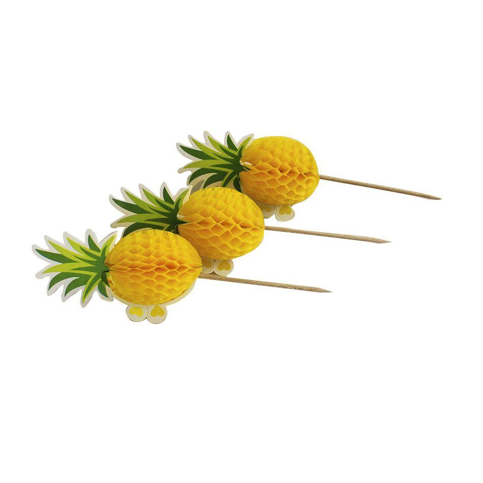 Palito Abacaxi decorativo para Drinks Pacote com 6pcs