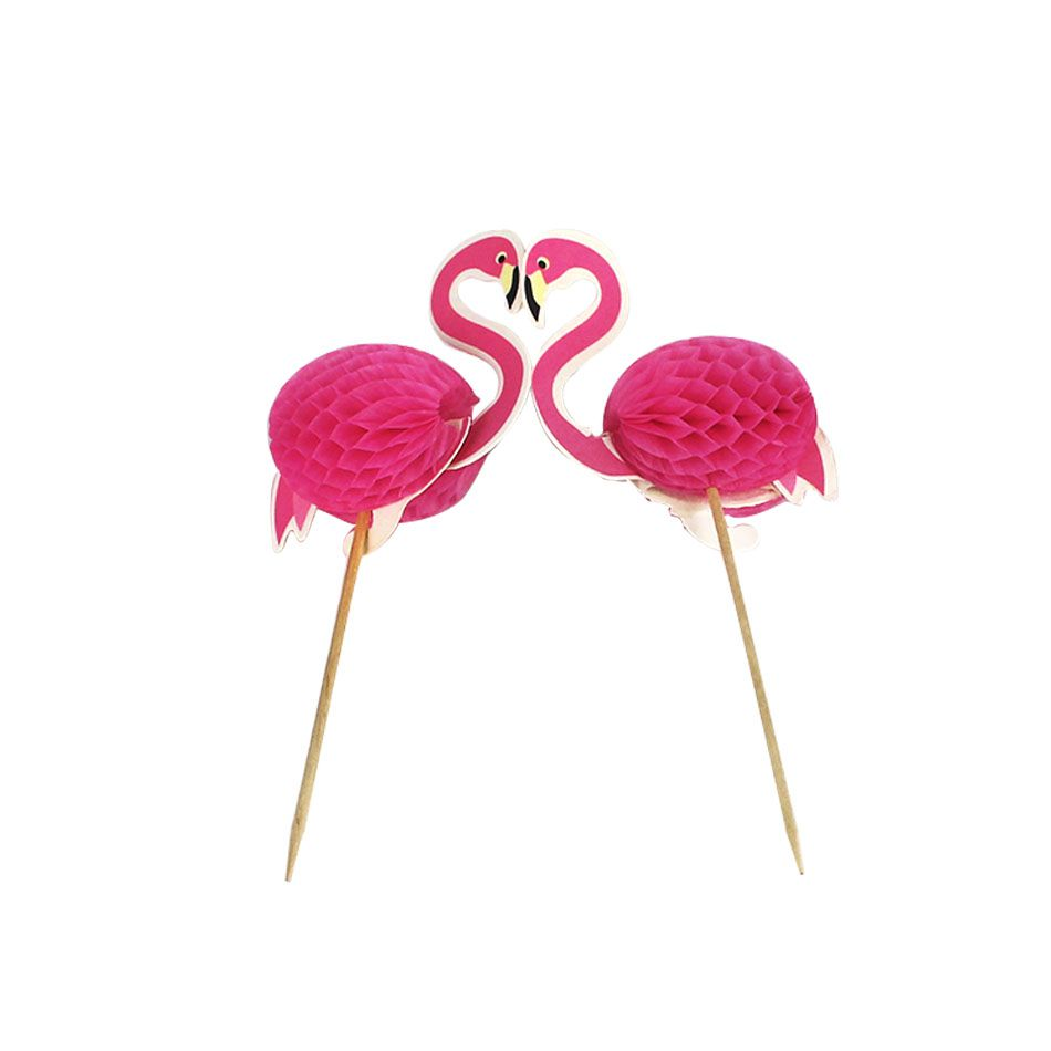 Palito Flamingo decorativo para Drinks Pacote com 6pcs
