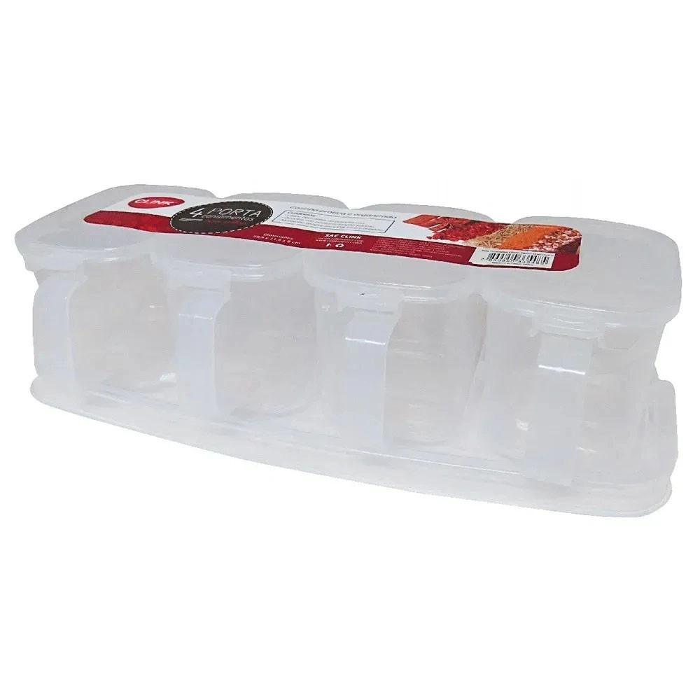 Porta Condimentos De Plástico Retangular E Colher Com 4 Peças
