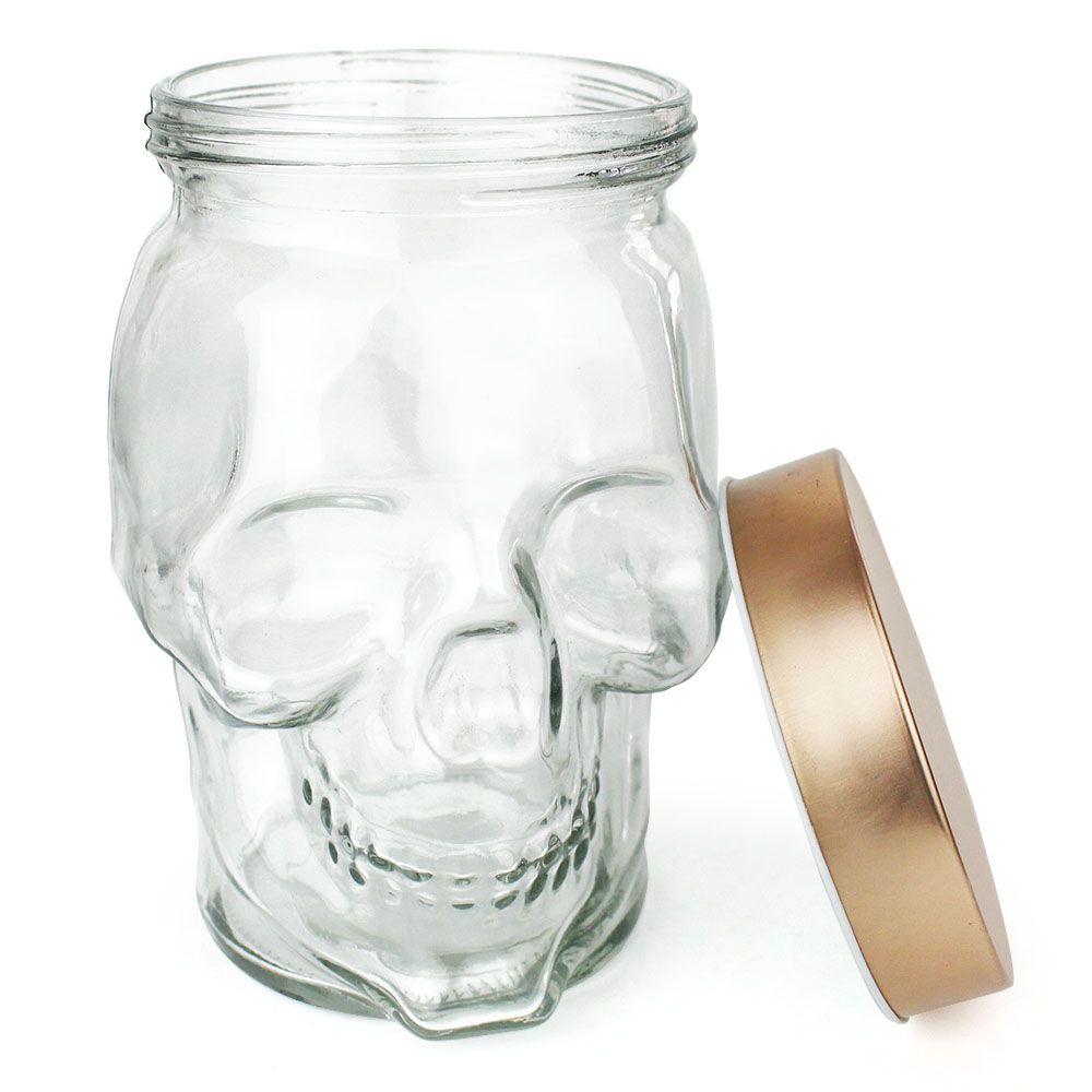 Pote de Vidro Caveira Skull Tampa Cor Cobre 14x14x18cm