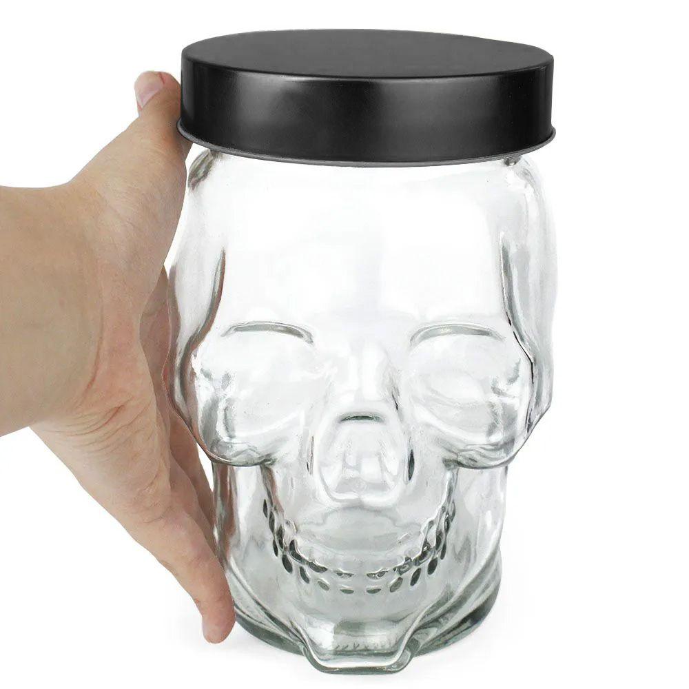 Pote de Vidro Caveira Skull Grande com Tampa Cor Preta 1,3 Litros
