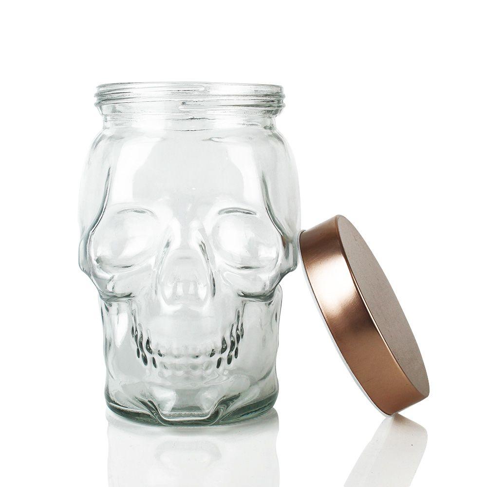 Pote de Vidro Decor Skull Tampa Cobre 14x14x18cm