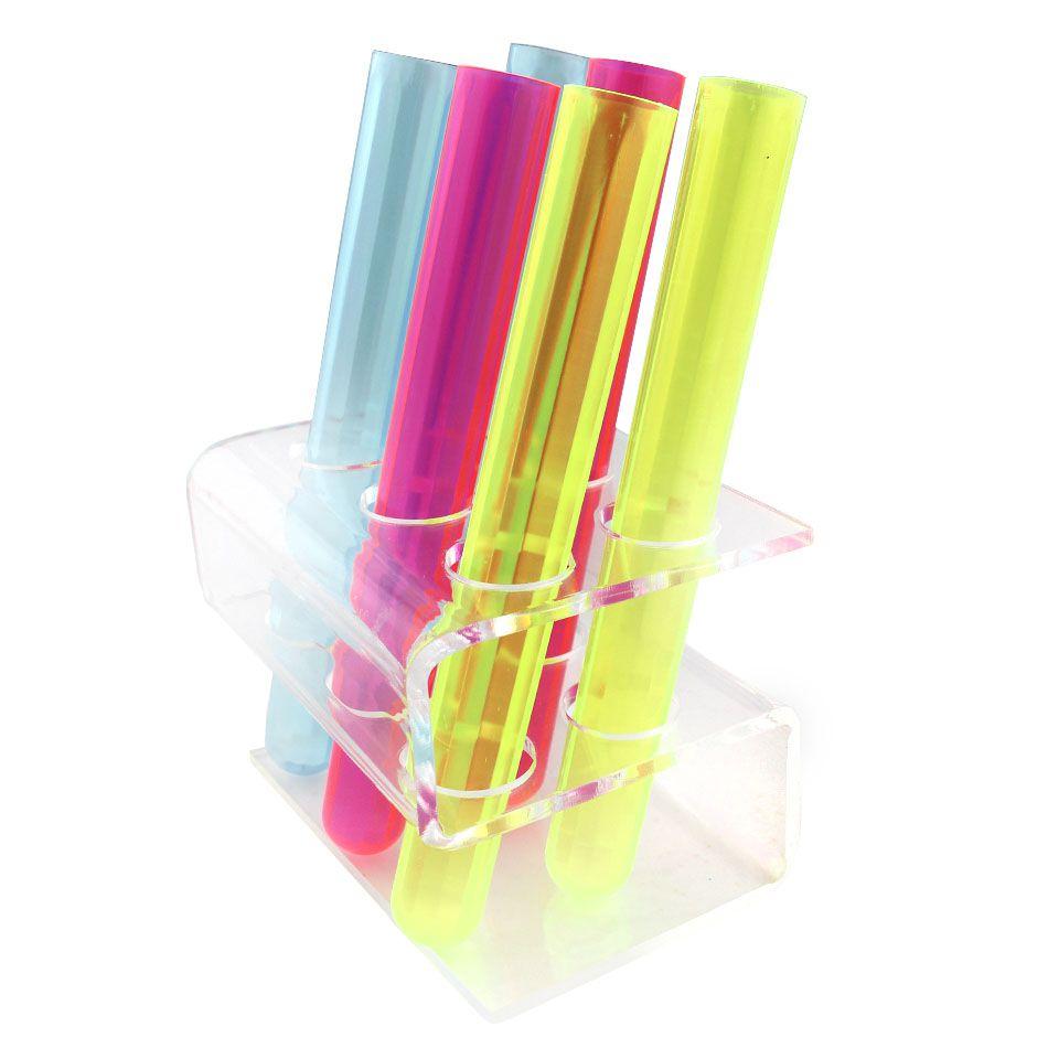 Suporte de 6 Tubos de Ensaio Shot Drink em Acrílico com tubos de brinde