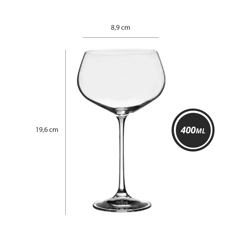 Taça Megan de Cristal Titânio para Vinho Tinto 400ml