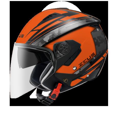 Capacete Zeus 205 Matt Orange /Aq1 Pixel Black Grey