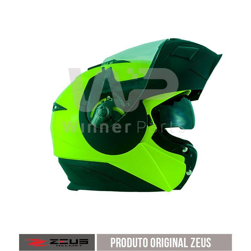 Capacete Zeus 3020 Fluor Yellow/Matt Black Chin