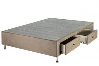 Box Base Para Colchão Casal Com Gavetas Suede 1,38 x 1,88 Kenko Premium