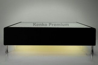 Box Base Para Colchão Iluminado Queen Size 1,58x1,98 Usb C/kit Conect Suede Kenko Premium