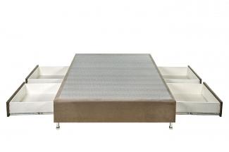 Box Base Para Colchão Queen Size Com Gavetas Suede 1,58 x 1,98 Kenko Premium