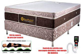 Colchão Magnético Queen Size 1,58x1,98x27cm Kenko Premium Gold C/Massageador Bioquãntico+Cromoterapia Linha Exportação