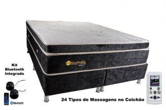 Colchão Magnético Queen Size 1,58x1,98x30cm Kenko Premium Gold C/Massageador Bioquãntico+Cromoterapia Linha Exportação