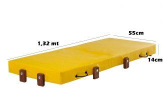 Mini Cama Infantil, Dobrável, para Creche, Escolhinha 0,55x1,32x14cm Altura, Amarelo