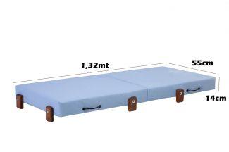Mini Cama Infantil, Dobrável, para Creche, Escolhinha 0,55x1,32x14cm Altura, Azul