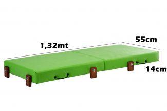 Mini Cama Infantil, Dobrável, para Creche, Escolhinha 0,55x1,32x14cm Altura, Verde