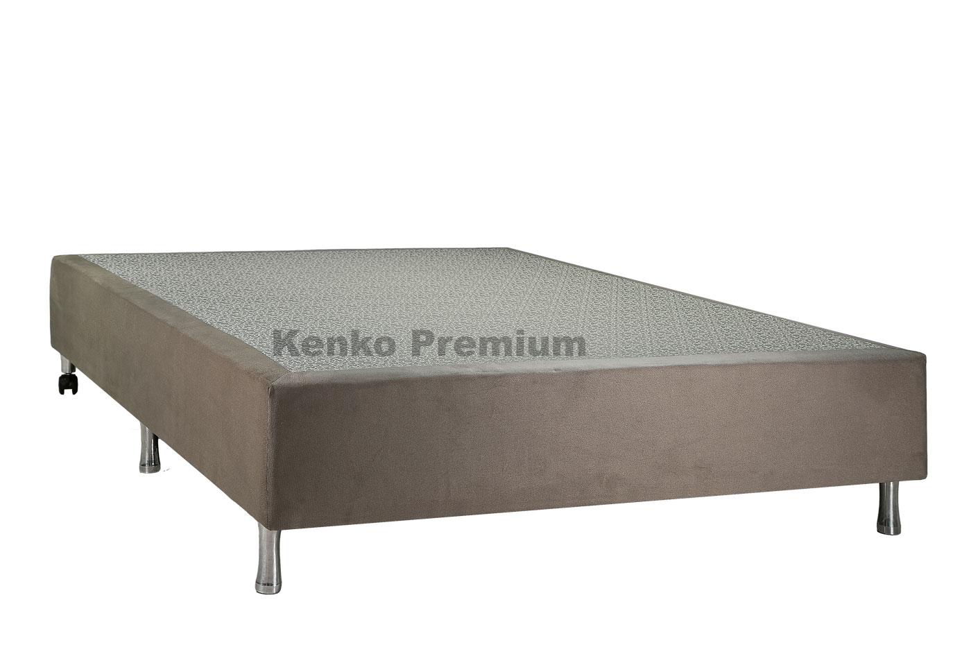 Box Base Para Colchão Iluminado Queen Size 1,58x1,98 Usb C/kit Conect Suede Kenko Premium   - Kenko Premium Colchões