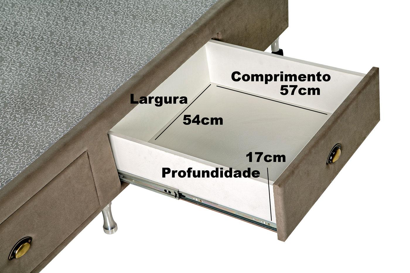 Box Base Para Colchão Queen Size Com Gavetas Suede 1,58 x 1,98 Kenko Premium  - Kenko Premium Colchões