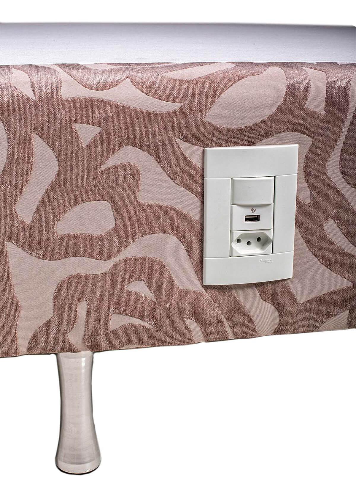 Box Iluminado  Solteiro 0,88x1,88 Usb C/kit Conect Suede Kenko Premium   - Kenko Premium Colchões