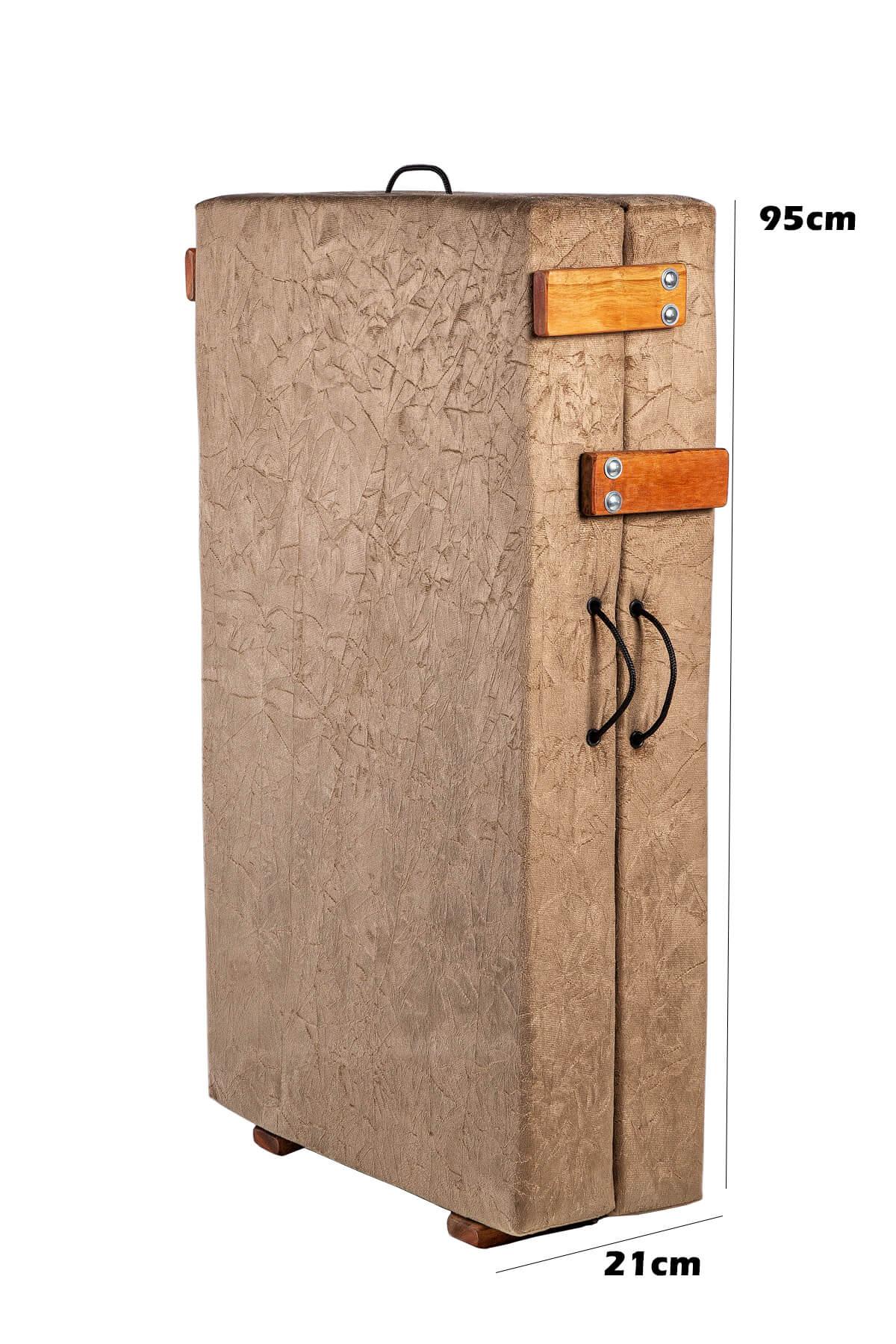 Cama Dobrável, Solteiro de Abrir com Colchão Embutido 0,60x1,90 em Suede  - Kenko Premium Colchões