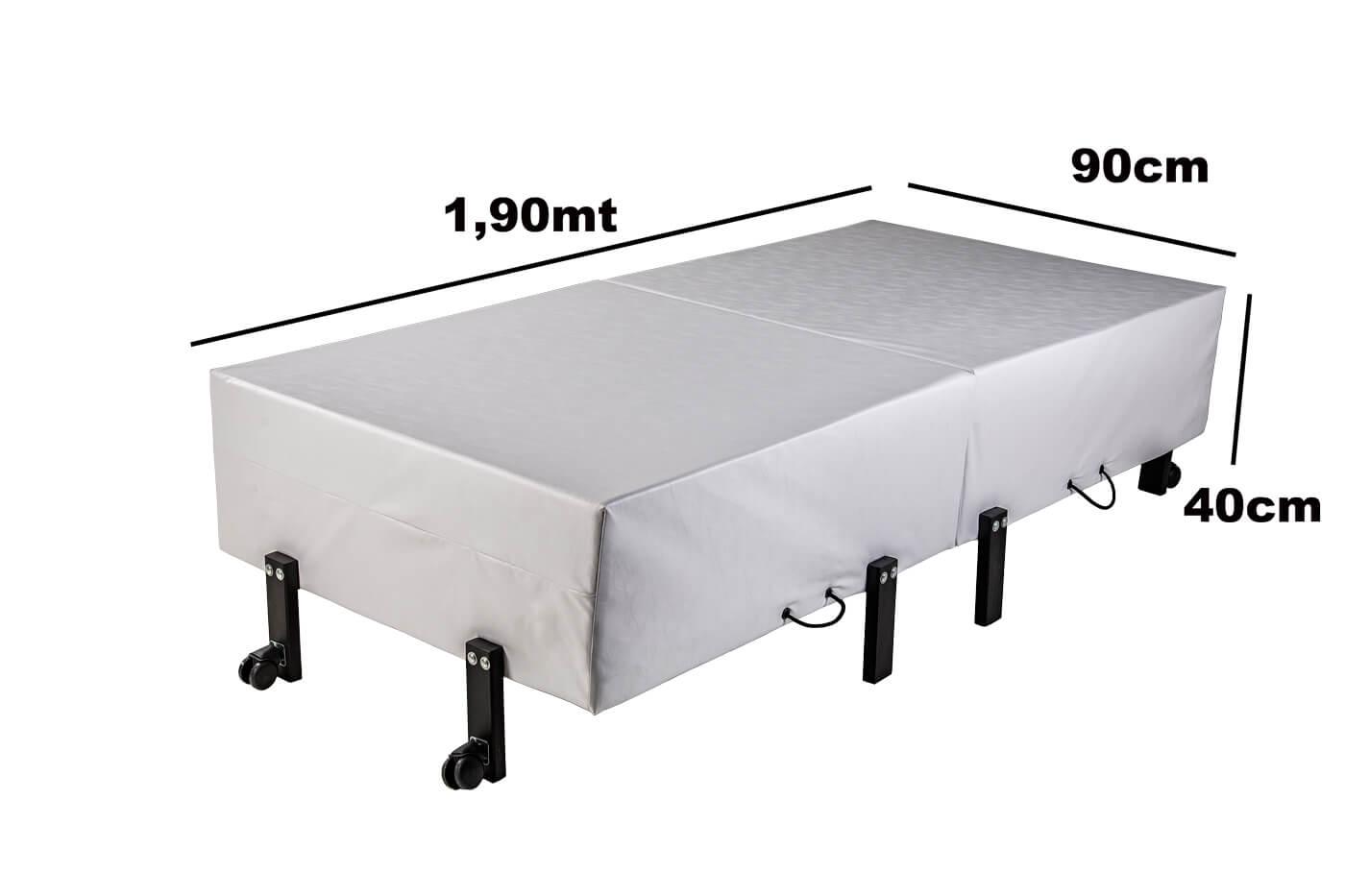 Cama Dobrável, Solteiro de Abrir com Colchão Embutido 0,90x1,90 em NAPA  - Kenko Premium Colchões