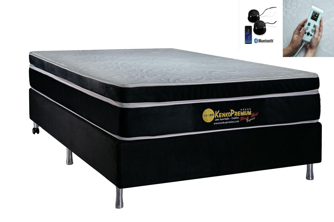 Colchão Magnético Casal 1,38x1,88x30 cm Kenko Premium Gold C/ Massageador Bioquãntico + Cromoterapia Linha Exportação  - Kenko Premium Colchões