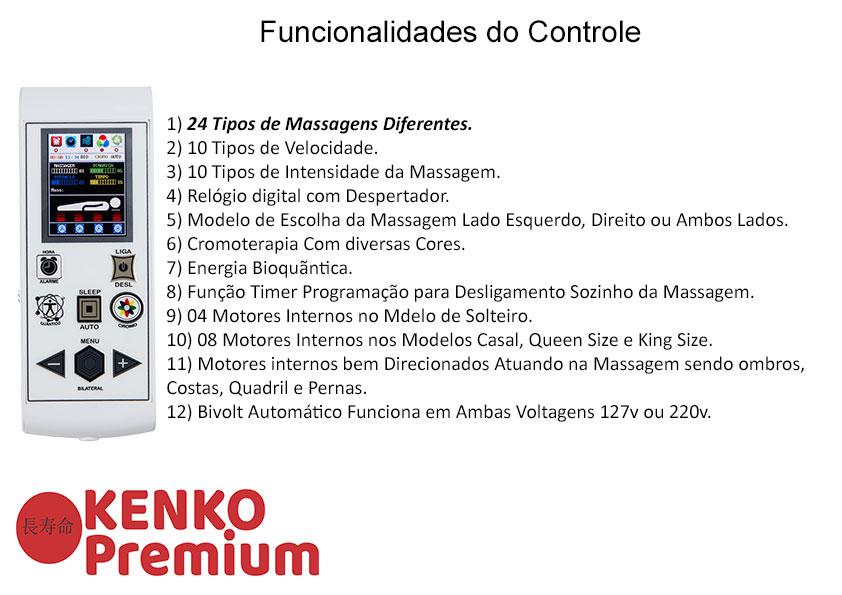 Colchão Magnético Casal Kenko Premium Standart  C/ Massagem Eletrônica Energia Bioquãntica 1,38x1,88x25cm  - Kenko Premium Colchões