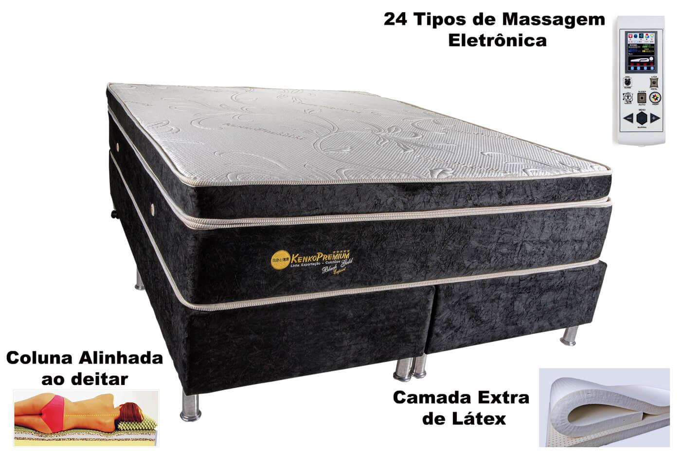 Colchão Magnético Kenko Premium, HR 29cm Látex + Massagem + Cromo  - Kenko Premium Colchões