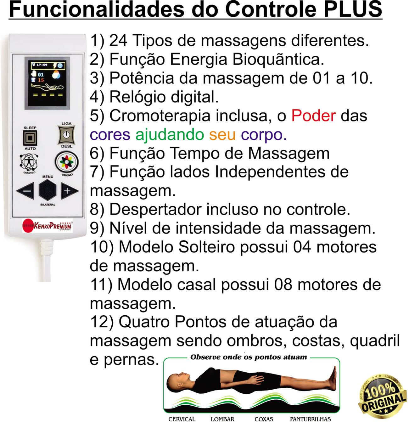 Colchão Magnético Kenko Premium Solteiro 0,88x1,88x27cm Plus C/ Massagem Eletrônica Energia Bioquãntica + Cromoterapia  - Kenko Premium Colchões