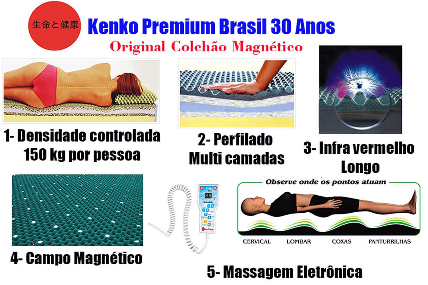 Colchão Magnético Queen Size 1,58x1,98x30cm Kenko Premium Gold C/Massageador Bioquãntico+Cromoterapia Linha Exportação  - Kenko Premium Colchões