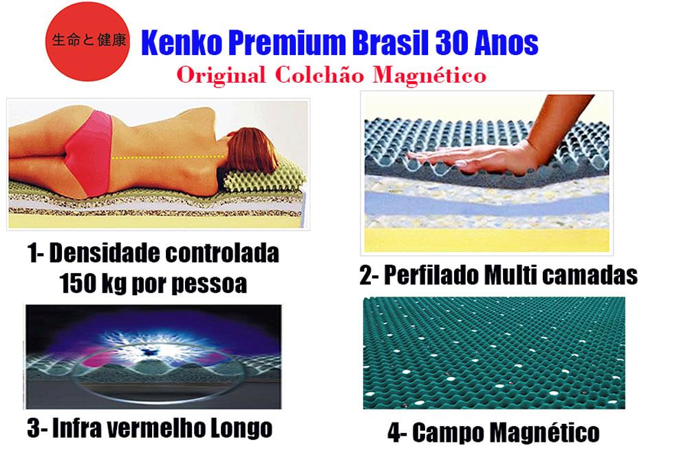Colchão Magnético Solteiro 0,88x1,88x30 cm Kenko Premium Gold Linha Exportação  - Kenko Premium Colchões