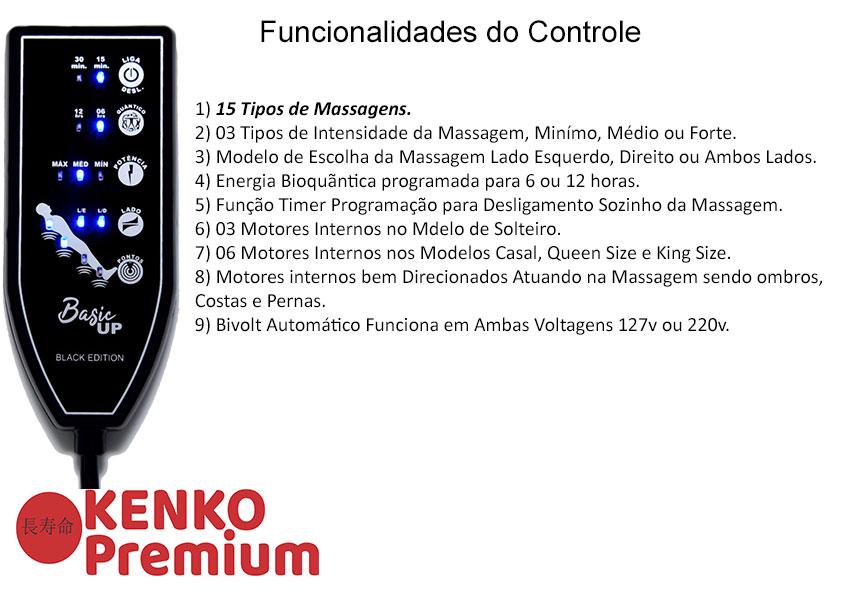 Colchão Magnético Solteiro Kenko Premium Basic  C/ Massagem Eletrônica Energia Bioquãntica 0,88x1,88x27cm  - Kenko Premium Colchões