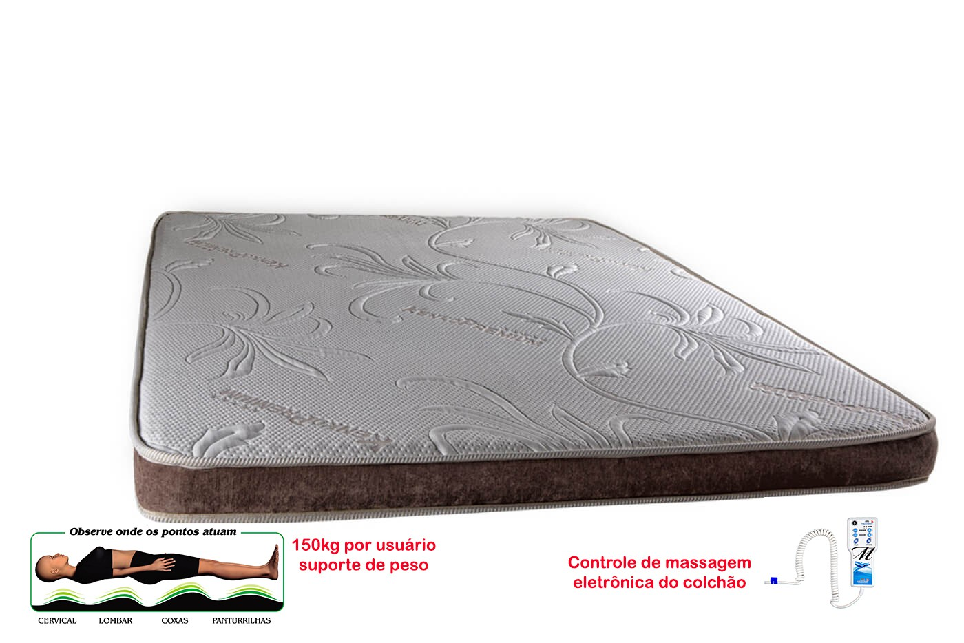 Manta Magnética Colchonete  Kenko Premium Casal C/ Massagem Eletrônica 1,38x1,88x10cm  - Kenko Premium Colchões