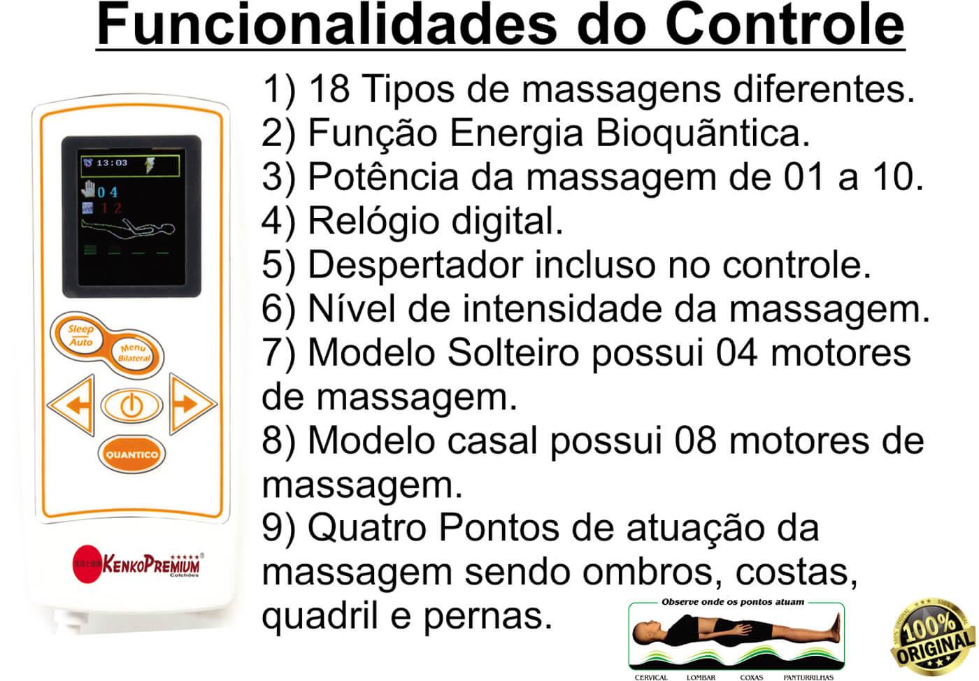 Manta Magnética Colchonete Kenko Premium Massagem Eletrônica 10cm Altura  - Kenko Premium Colchões