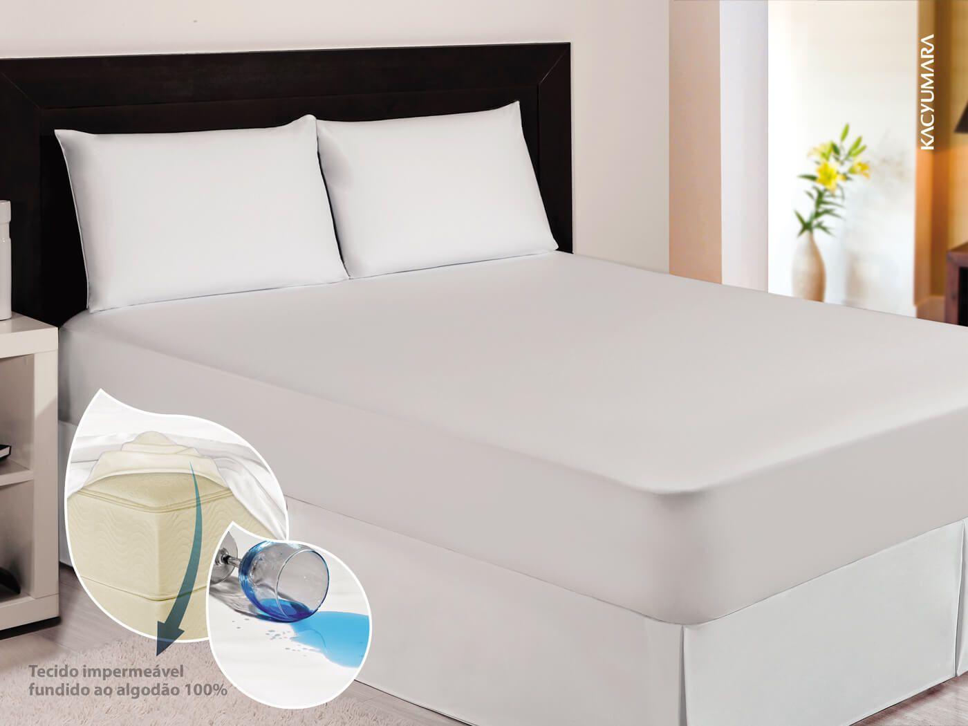 Protetor de Colchão Algodão Impermeável Casal 1,38X1,88 KACYUMARA  - Kenko Premium Colchões