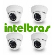 KIT COM 4 CÂMERAS INTELBRAS MULTI HD DOME VHD 1010D