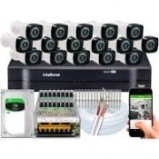 Kit Intelbras com 16 Câmeras HD 720p VHL 1120 B com Infra Vermelho 20 Metros + DVR de 16 Canais Multi Hd 1116 Intelbras + Acessórios