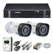 Kit Intelbras com 2 Câmeras HD 720p VHL 1120 B com Infra Vermelho 20 Metros  + DVR de 4 Canais Multi Hd 1104 Intelbras + Acessórios