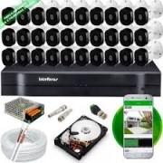 Kit Intelbras com 32 Câmeras HD 720p VHL 1120 B com Infra Vermelho 20 Metros + DVR de 32 Canais Multi Hd 1132 Intelbras + Acessórios