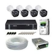Kit Intelbras com 4 Câmeras HD 720p VHL 1120 B com Infra Vermelho 20 Metros + DVR de 4 Canais Multi Hd 1104 Intelbras + Acessórios