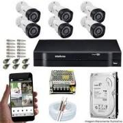 Kit Intelbras com 6 Câmeras HD 720p VHL 1120 B com Infra Vermelho 20 Metros + DVR de 8 Canais Multi Hd 1108 Intelbras + Acessórios