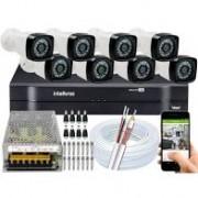 Kit Intelbras com 8 Câmeras HD 720p VHL 1120 B com Infra Vermelho 20 Metros + DVR de 8 Canais Multi Hd 1108 Intelbras + Acessórios