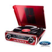 Toca discos vinil Mustang c/ rádio, USB, entrada auxiliar e conversão digital