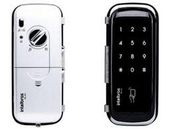 Fechadura digital de sobrepor para portas de vidro Fr400 Intelbras  - Sandercomp Virtual