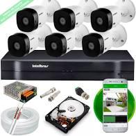 Kit Intelbras com 6 Câmeras HD 720p VHL 1120 B com Infra Vermelho 20 Metros + DVR de 8 Canais Multi Hd 1108 Intelbras + Acessórios  - Sandercomp Virtual
