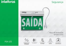Placa de Sinalização de Saida de Emergencia Led de Unica Face Psa 125 Intelbras  - Sandercomp Virtual