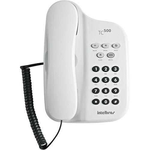 TELEFONE COM FIO TC 500 BRANCO C/ CHAVE INTELBRAS                      - Sandercomp Virtual