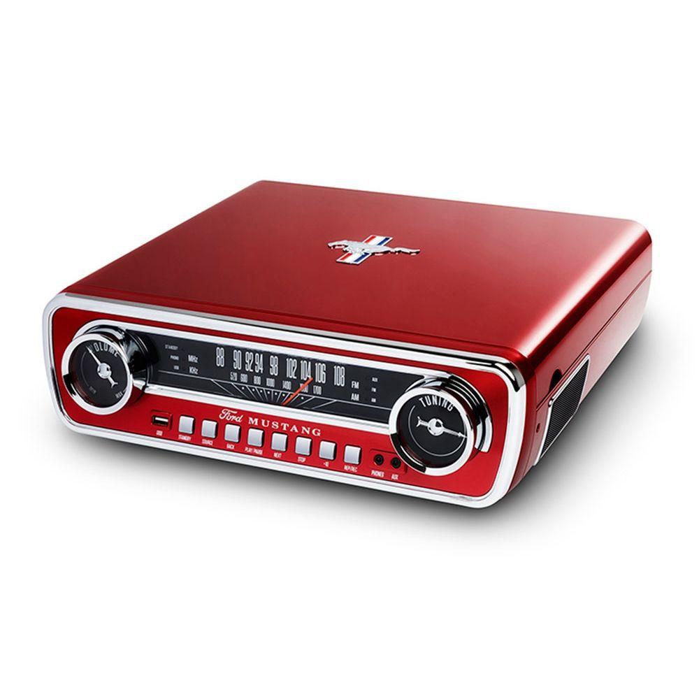 Toca discos vinil Mustang c/ rádio, USB, entrada auxiliar e conversão digital  - Sandercomp Virtual