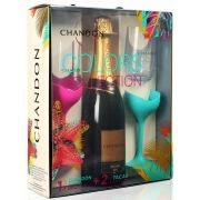 Kit Espumante Chandon Reserve Brut Colors Collection - 750ml + 2 Taças -