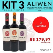Kit 3 Vinhos Tintos Aliwen Reserva Cabernet Sauvignon / Carménère / Cabernet Sauvignon Carménère