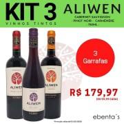 Kit 3 Vinhos Tintos Aliwen Reserva Cabernet Sauvignon / Pinot Noir / Carménère